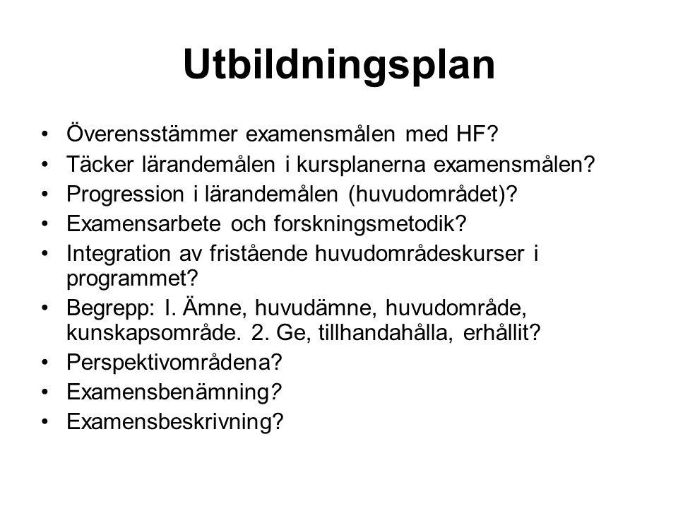 Utbildningsplan Överensstämmer examensmålen med HF.
