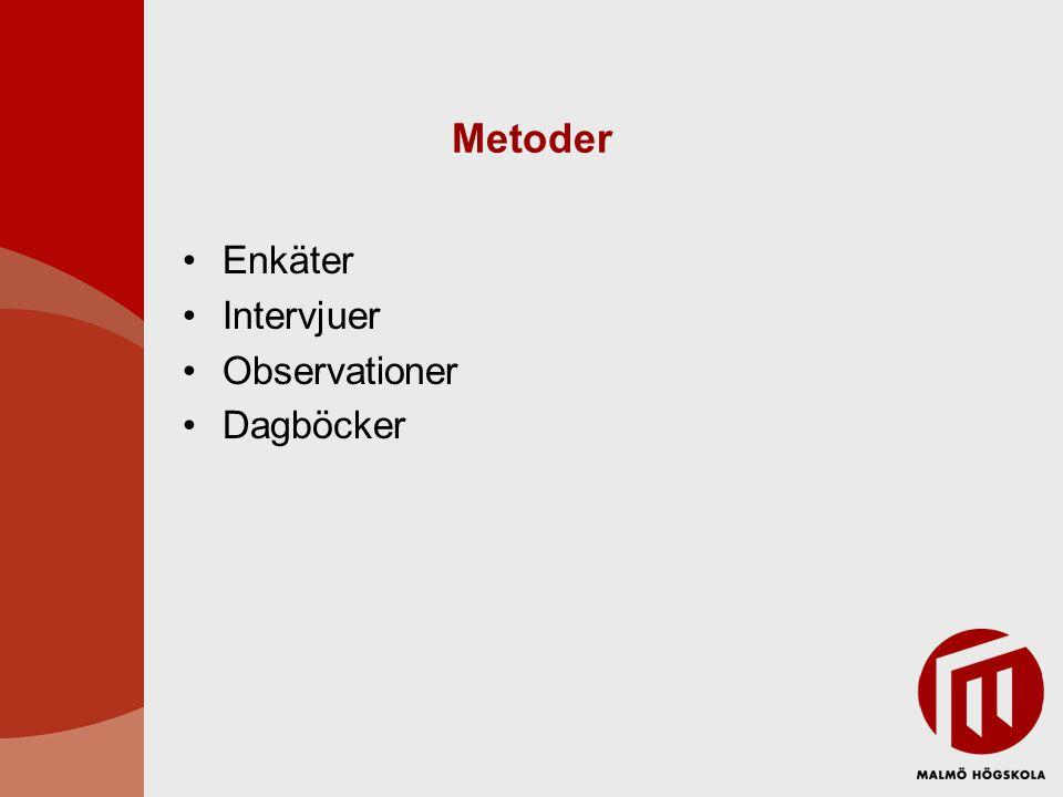 Metoder Enkäter Intervjuer Observationer Dagböcker