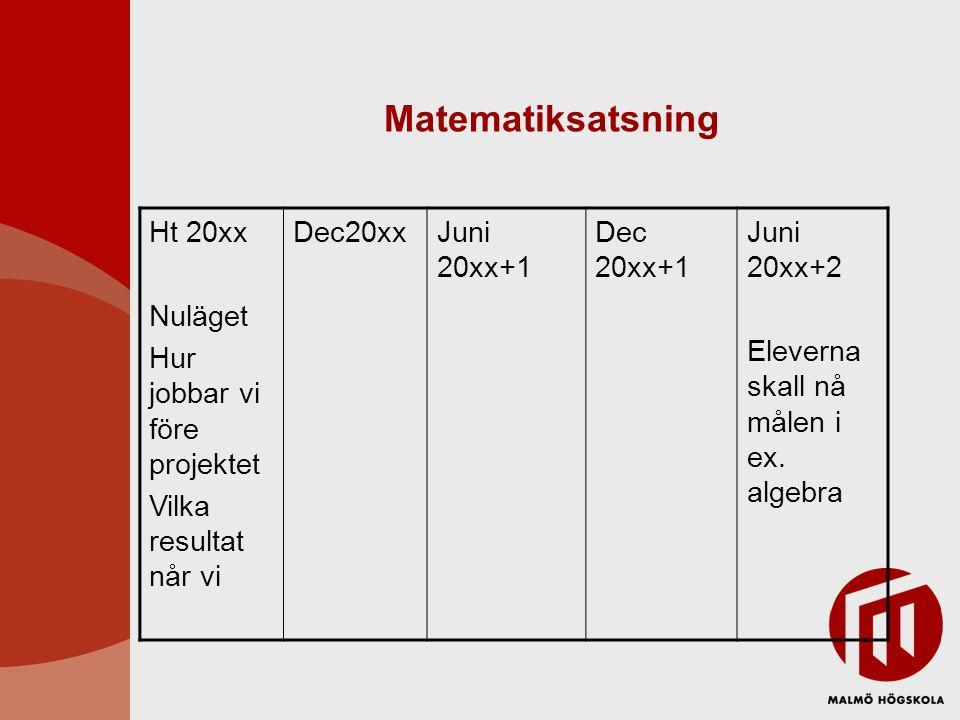 Matematiksatsning Ht 20xx Nuläget Hur jobbar vi före projektet Vilka resultat når vi Dec20xxJuni 20xx+1 Dec 20xx+1 Juni 20xx+2 Eleverna skall nå målen i ex.