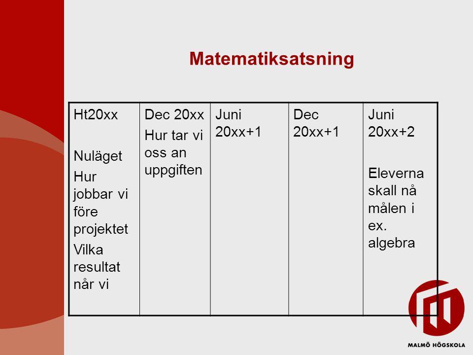 Matematiksatsning Ht20xx Nuläget Hur jobbar vi före projektet Vilka resultat når vi Dec 20xx Hur tar vi oss an uppgiften Juni 20xx+1 Dec 20xx+1 Juni 20xx+2 Eleverna skall nå målen i ex.