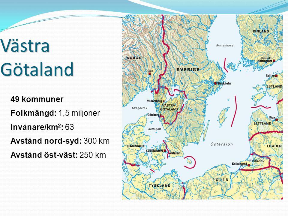 Västra Götaland 49 kommuner Folkmängd: 1,5 miljoner Invånare/km 2 : 63 Avstånd nord-syd: 300 km Avstånd öst-väst: 250 km