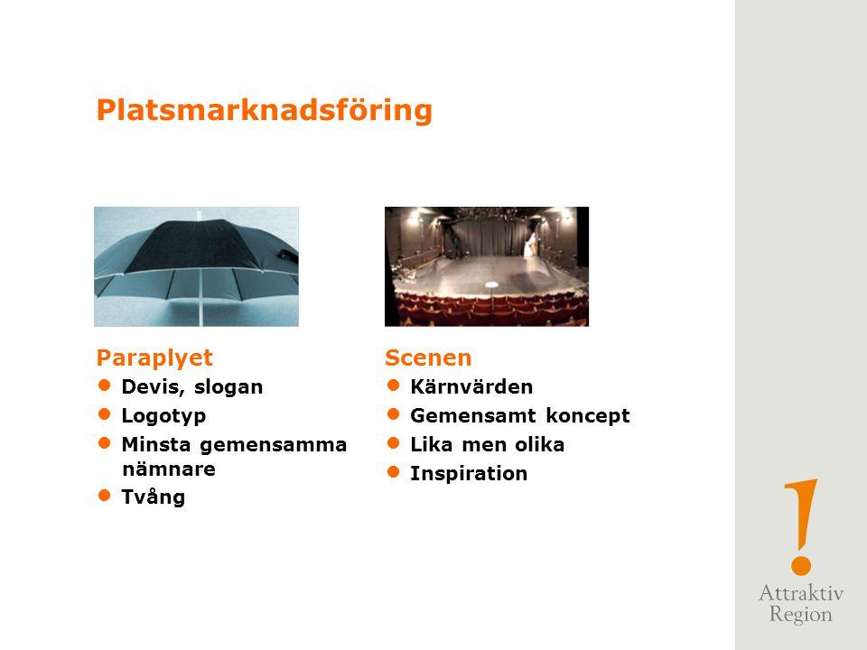 Paraplyet Devis, slogan Logotyp Minsta gemensamma nämnare Tvång Scenen Kärnvärden Gemensamt koncept Lika men olika Inspiration Platsmarknadsföring