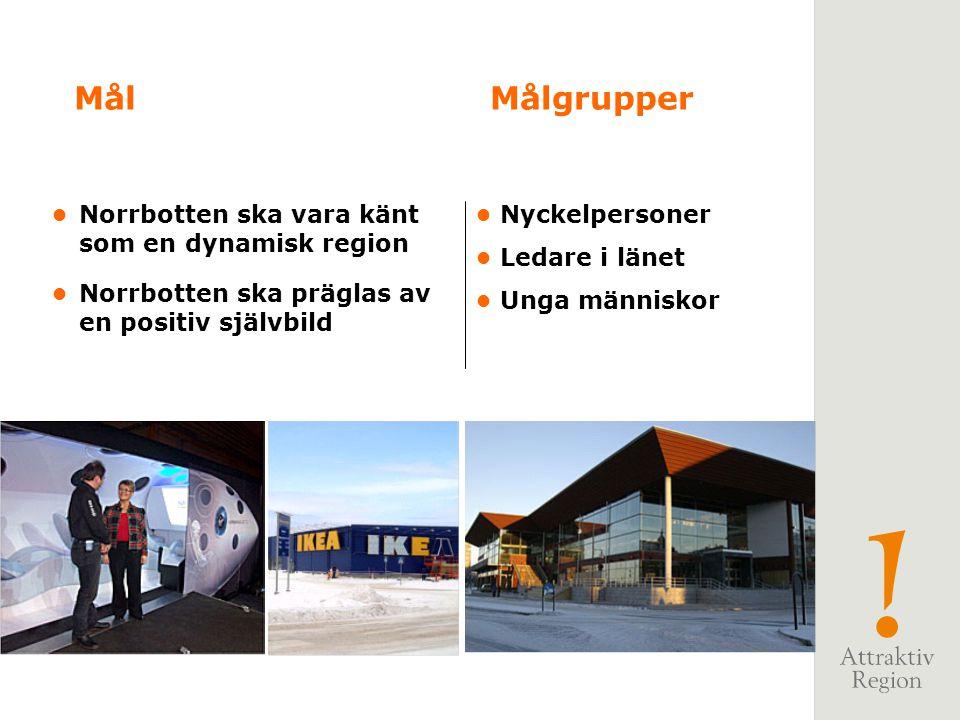 Norrbotten ska vara känt som en dynamisk region Norrbotten ska präglas av en positiv självbild MålMålgrupper Nyckelpersoner Ledare i länet Unga människor