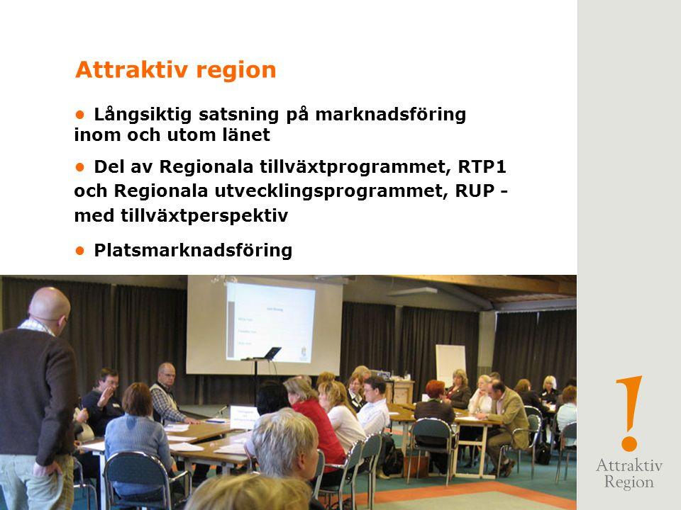 Långsiktig satsning på marknadsföring inom och utom länet Del av Regionala tillväxtprogrammet, RTP1 och Regionala utvecklingsprogrammet, RUP - med tillväxtperspektiv Platsmarknadsföring Attraktiv region
