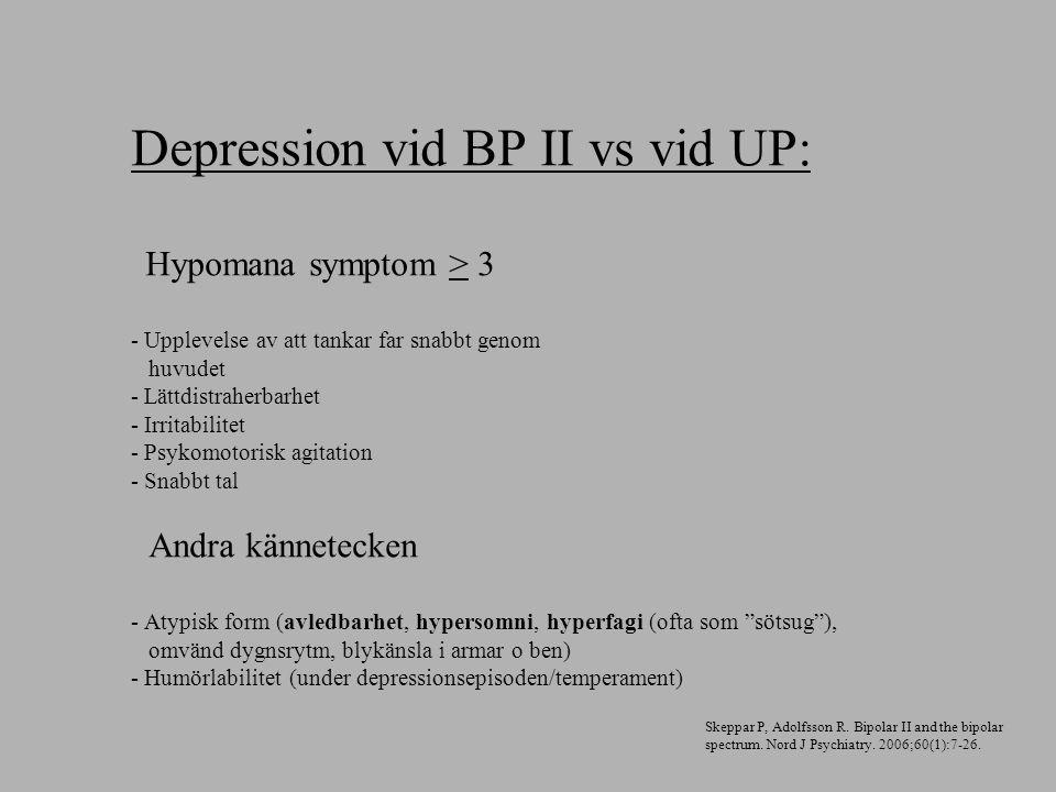 Depression vid BP II vs vid UP: Hypomana symptom > 3 - Upplevelse av att tankar far snabbt genom huvudet - Lättdistraherbarhet - Irritabilitet - Psyko