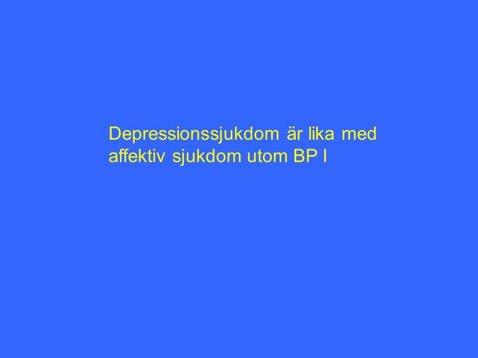 Depressionssjukdom är lika med affektiv sjukdom utom BP I