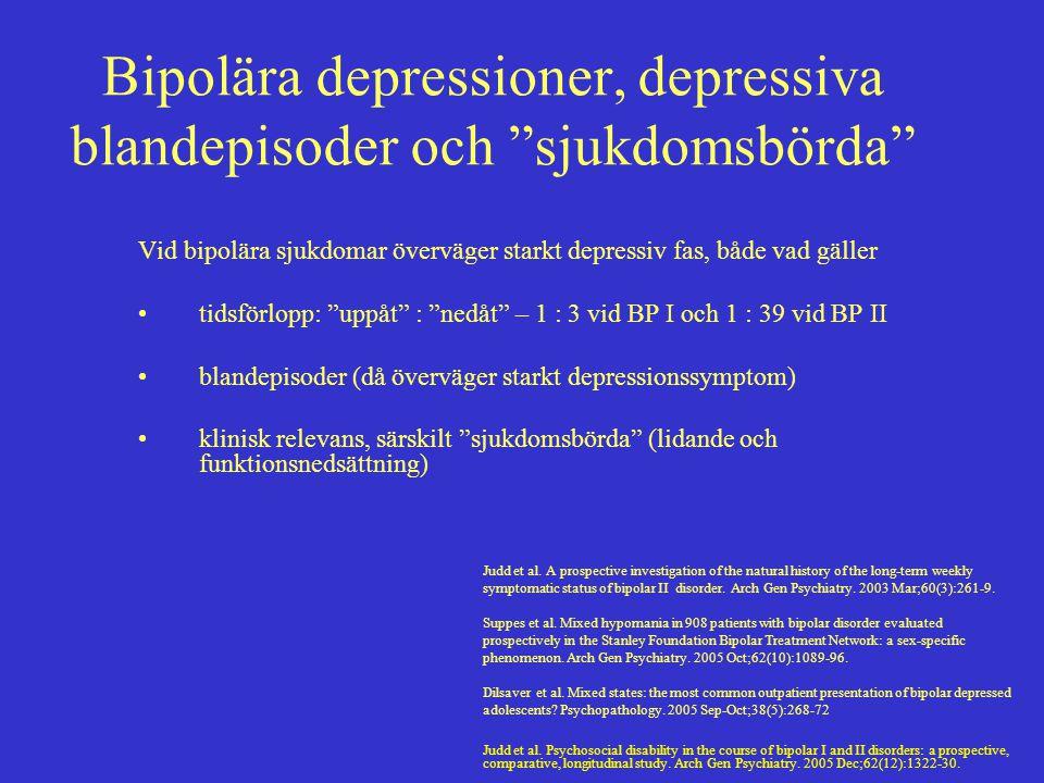 """Bipolära depressioner, depressiva blandepisoder och """"sjukdomsbörda"""" Vid bipolära sjukdomar överväger starkt depressiv fas, både vad gäller tidsförlopp"""
