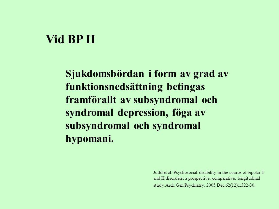Sjukdomsbördan i form av grad av funktionsnedsättning betingas framförallt av subsyndromal och syndromal depression, föga av subsyndromal och syndroma