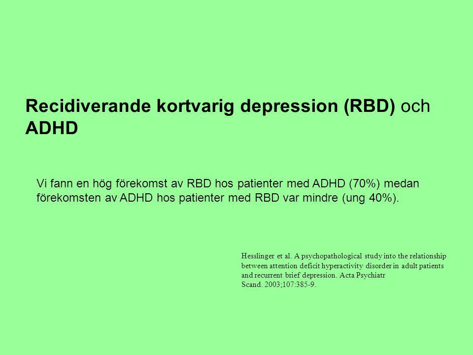 Recidiverande kortvarig depression (RBD) och ADHD Vi fann en hög förekomst av RBD hos patienter med ADHD (70%) medan förekomsten av ADHD hos patienter