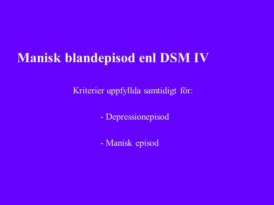 Manisk blandepisod enl DSM IV Kriterier uppfyllda samtidigt för: - Depressionepisod - Manisk episod