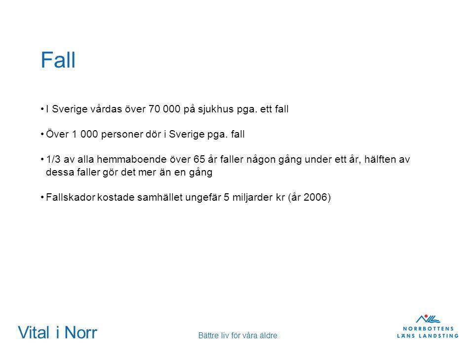 Vital i Norr Bättre liv för våra äldre Fall I Sverige vårdas över 70 000 på sjukhus pga. ett fall Över 1 000 personer dör i Sverige pga. fall 1/3 av a