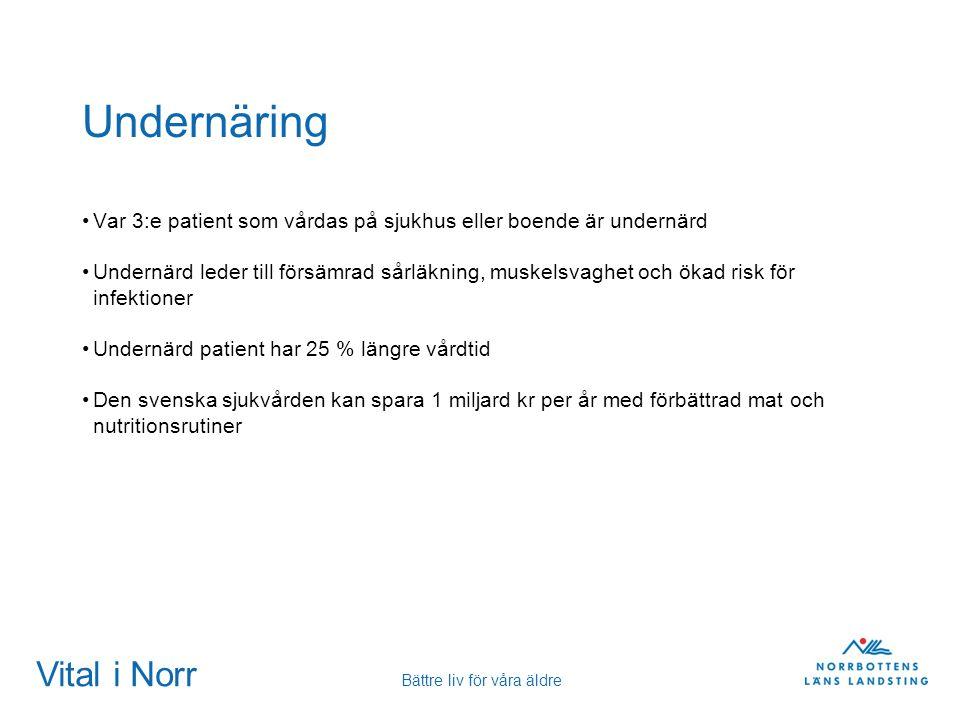 Vital i Norr Bättre liv för våra äldre Undernäring Var 3:e patient som vårdas på sjukhus eller boende är undernärd Undernärd leder till försämrad sårl