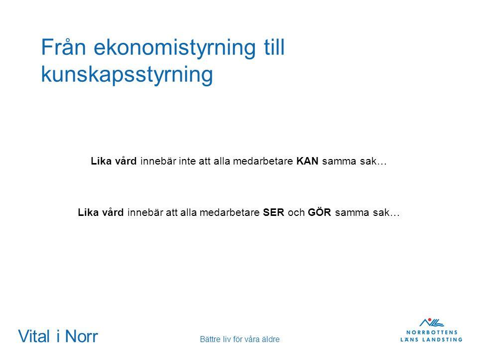 Vital i Norr Bättre liv för våra äldre Från ekonomistyrning till kunskapsstyrning Lika vård innebär inte att alla medarbetare KAN samma sak… Lika vård