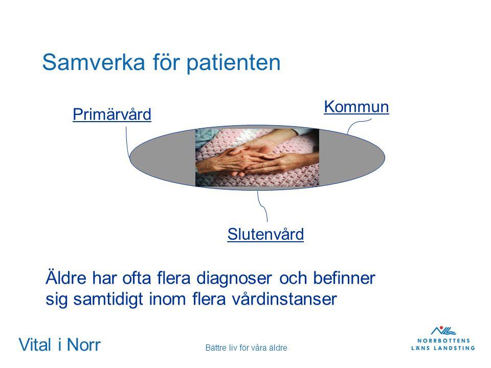 Vital i Norr Bättre liv för våra äldre Samverka för patienten Kommun Primärvård Slutenvård Äldre har ofta flera diagnoser och befinner sig samtidigt i