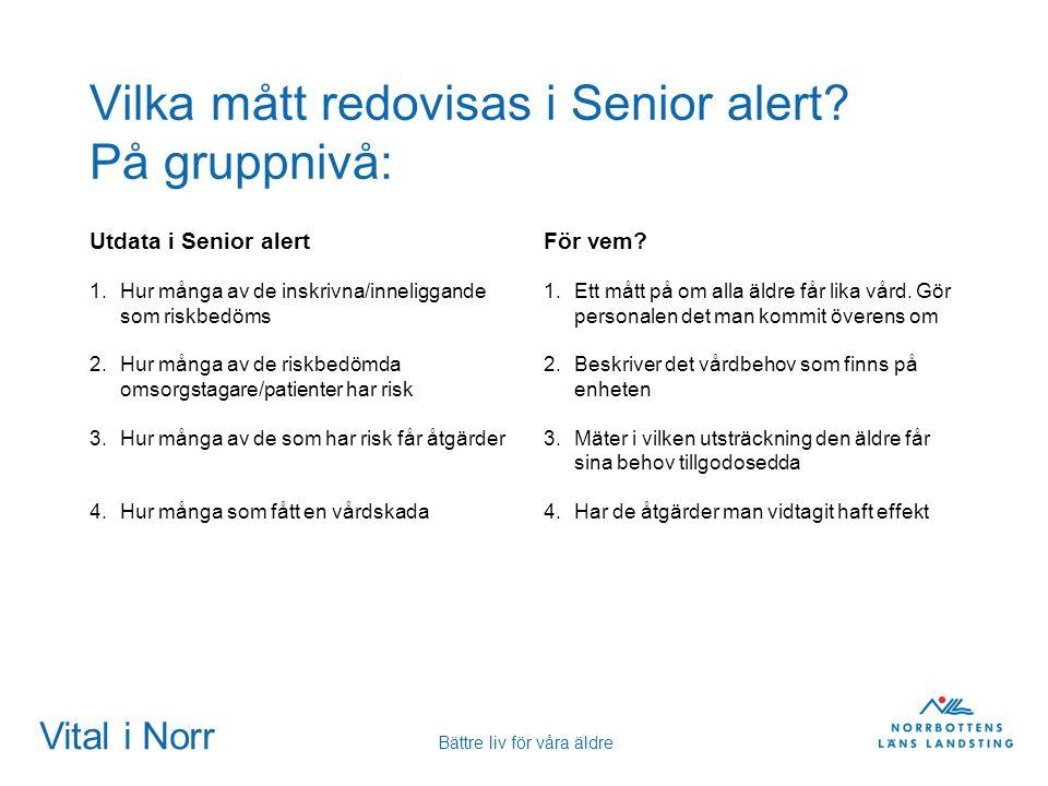 Vital i Norr Bättre liv för våra äldre Vilka mått redovisas i Senior alert? På gruppnivå: Utdata i Senior alert 1.Hur många av de inskrivna/inneliggan