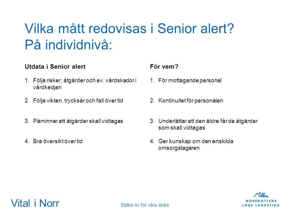 Vital i Norr Bättre liv för våra äldre Vilka mått redovisas i Senior alert? På individnivå: Utdata i Senior alert 1.Följa risker, åtgärder och ev. vår