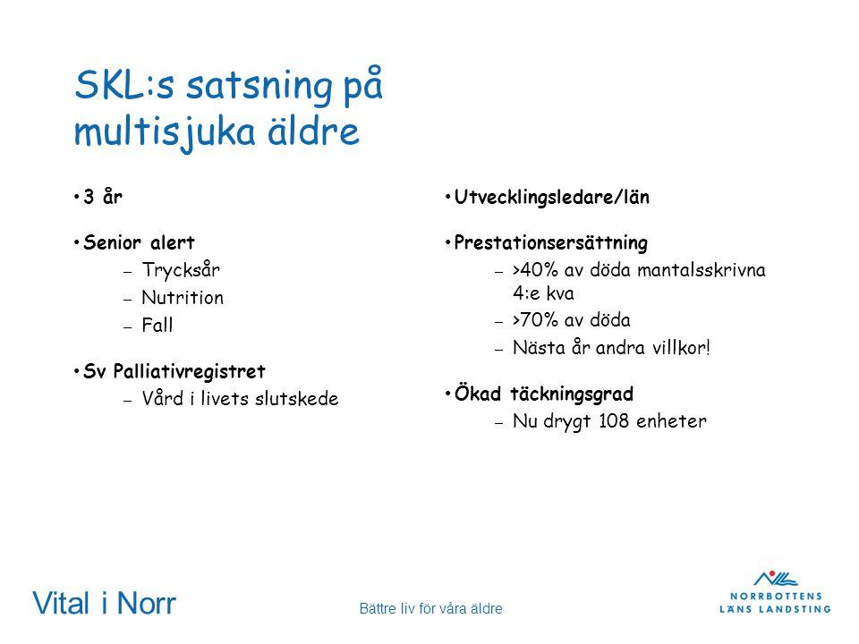 Vital i Norr Bättre liv för våra äldre SKL:s satsning på multisjuka äldre 3 år Senior alert – Trycksår – Nutrition – Fall Sv Palliativregistret – Vård
