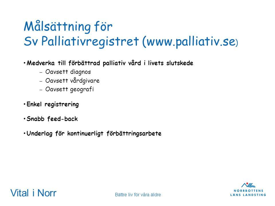 Vital i Norr Bättre liv för våra äldre Målsättning för Sv Palliativregistret (www.palliativ.se ) Medverka till förbättrad palliativ vård i livets slut