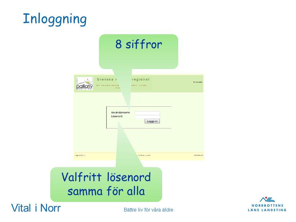 Vital i Norr Bättre liv för våra äldre Inloggning 8 siffror Valfritt lösenord samma för alla