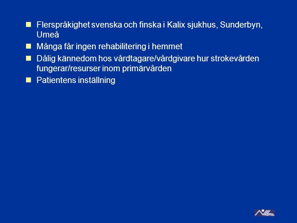 Flerspråkighet svenska och finska i Kalix sjukhus, Sunderbyn, Umeå Många får ingen rehabilitering i hemmet Dålig kännedom hos vårdtagare/vårdgivare hur strokevården fungerar/resurser inom primärvården Patientens inställning