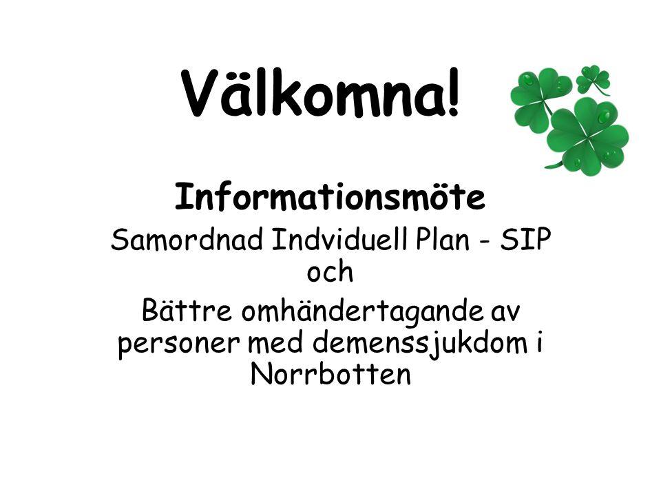 Dagordning  Stina – trygg i Norrbotten  Samordnad Individuell Plan – SIP  Bättre omhändertagande av personer med demenssjukdom i Norrbotten  Avslut och utvärdering
