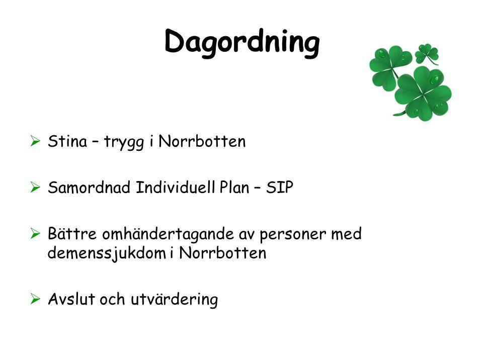 Dagordning  Stina – trygg i Norrbotten  Samordnad Individuell Plan – SIP  Bättre omhändertagande av personer med demenssjukdom i Norrbotten  Avslu