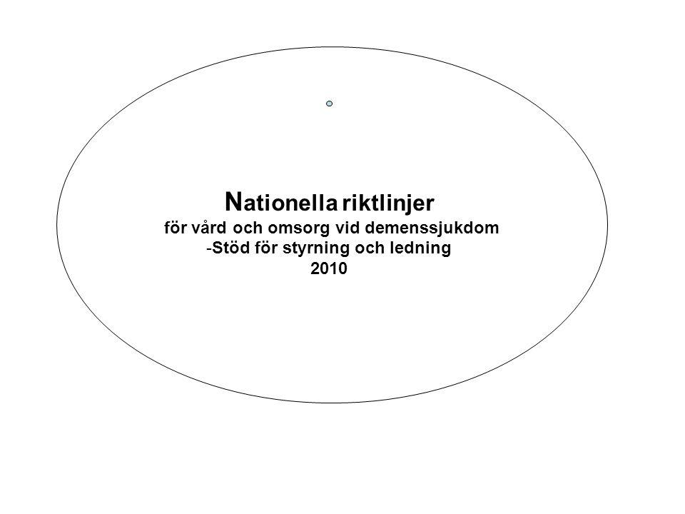 N ationella riktlinjer för vård och omsorg vid demenssjukdom -Stöd för styrning och ledning 2010