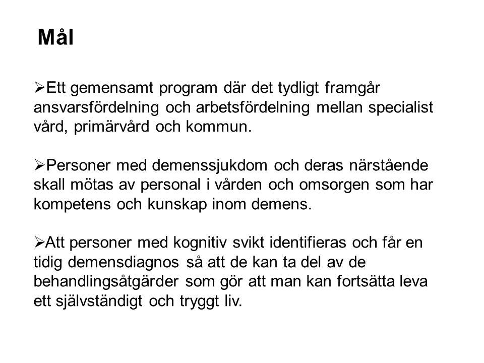 Mål  Ett gemensamt program där det tydligt framgår ansvarsfördelning och arbetsfördelning mellan specialist vård, primärvård och kommun.  Personer m