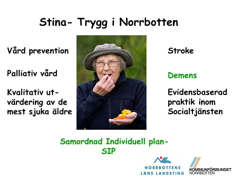 Stina- Trygg i Norrbotten Vård prevention Palliativ vård Kvalitativ ut- värdering av de mest sjuka äldre Demens Samordnad Individuell plan- SIP Stroke