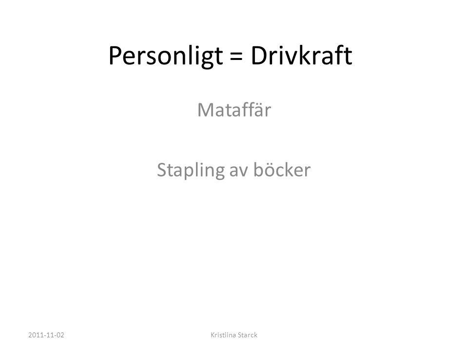Personligt = Drivkraft Mataffär Stapling av böcker 2011-11-02Kristiina Starck