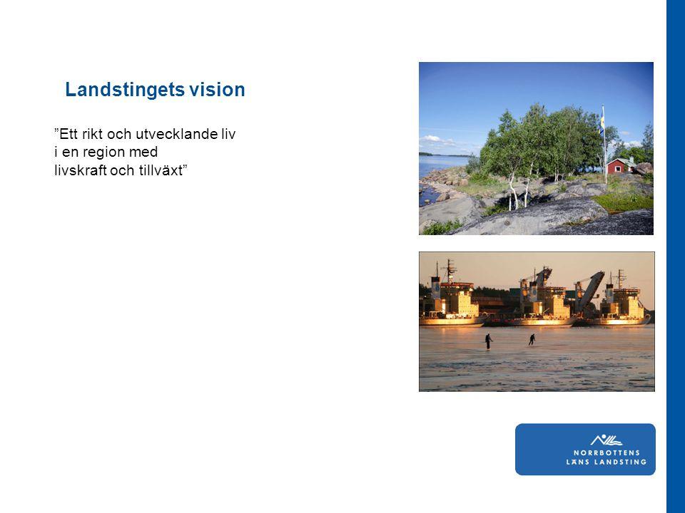 """""""Ett rikt och utvecklande liv i en region med livskraft och tillväxt"""" Landstingets vision"""