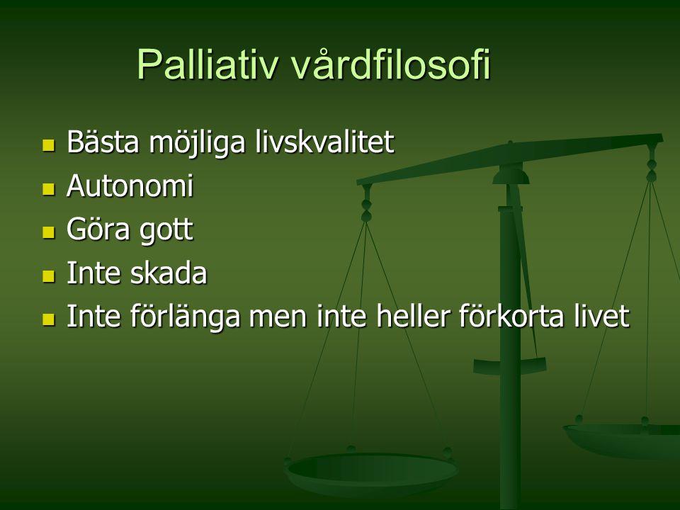 Palliativ vårdfilosofi Bästa möjliga livskvalitet Bästa möjliga livskvalitet Autonomi Autonomi Göra gott Göra gott Inte skada Inte skada Inte förlänga