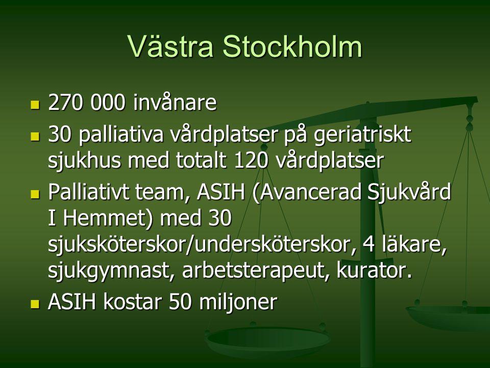 Västra Stockholm 270 000 invånare 270 000 invånare 30 palliativa vårdplatser på geriatriskt sjukhus med totalt 120 vårdplatser 30 palliativa vårdplats