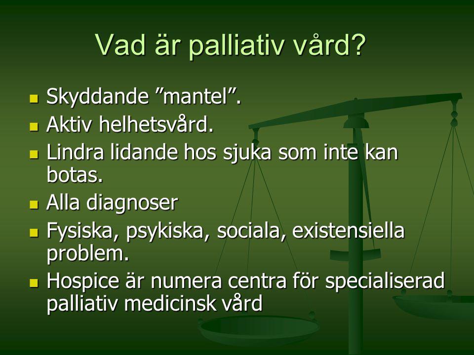 """Vad är palliativ vård? Skyddande """"mantel"""". Skyddande """"mantel"""". Aktiv helhetsvård. Aktiv helhetsvård. Lindra lidande hos sjuka som inte kan botas. Lind"""