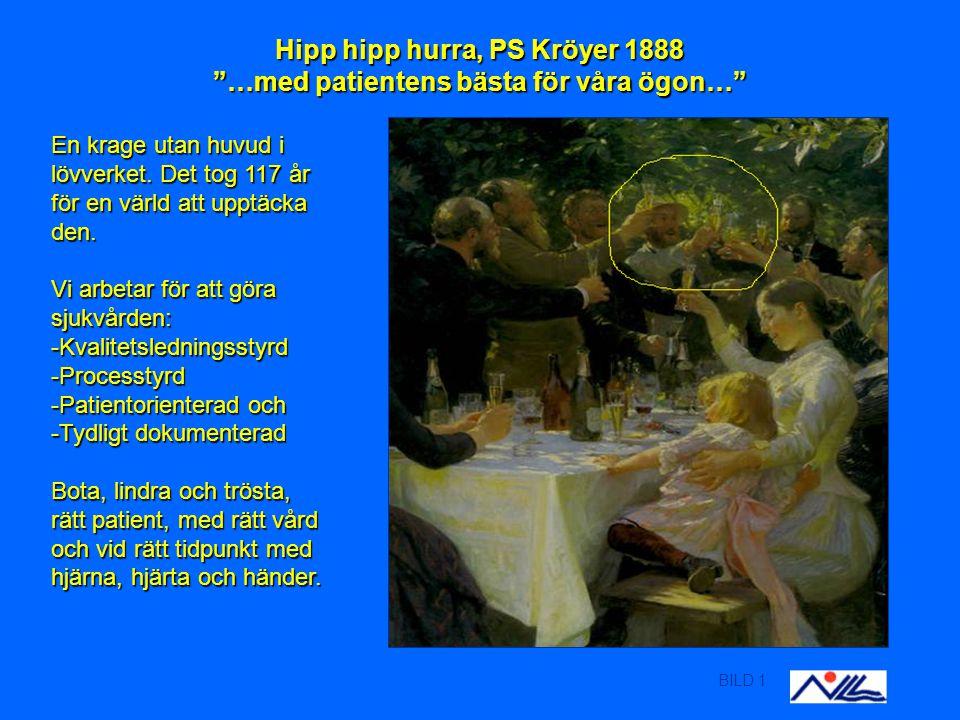 BILD 1 Hipp hipp hurra, PS Kröyer 1888 …med patientens bästa för våra ögon… En krage utan huvud i lövverket.