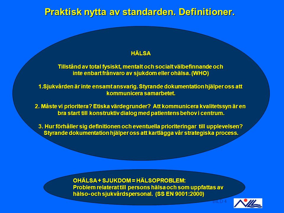 BILD 4 Praktisk nytta av standarden. Definitioner.