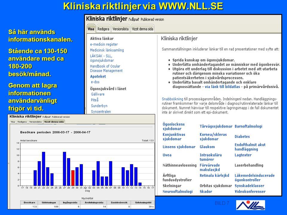 BILD 7 Kliniska riktlinjer via WWW.NLL.SE Kliniska riktlinjer via WWW.NLL.SE Så här används informationskanalen.