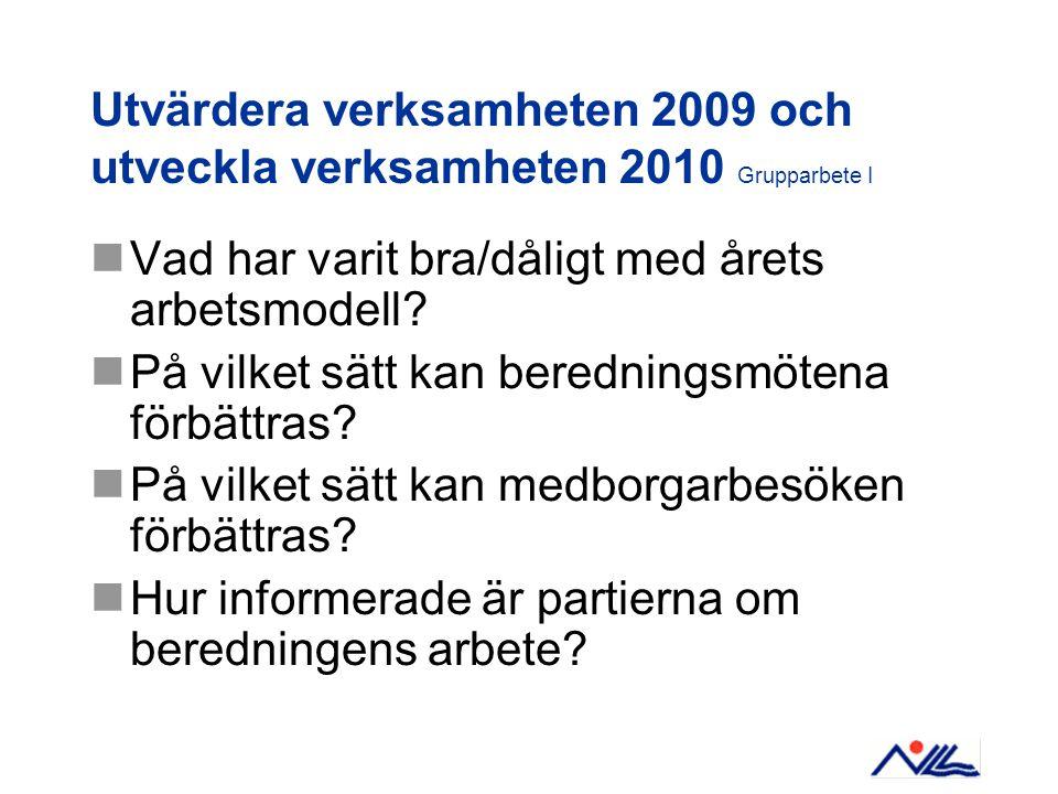 Utvärdera verksamheten 2009 och utveckla verksamheten 2010 Grupparbete I Vad har varit bra/dåligt med årets arbetsmodell.