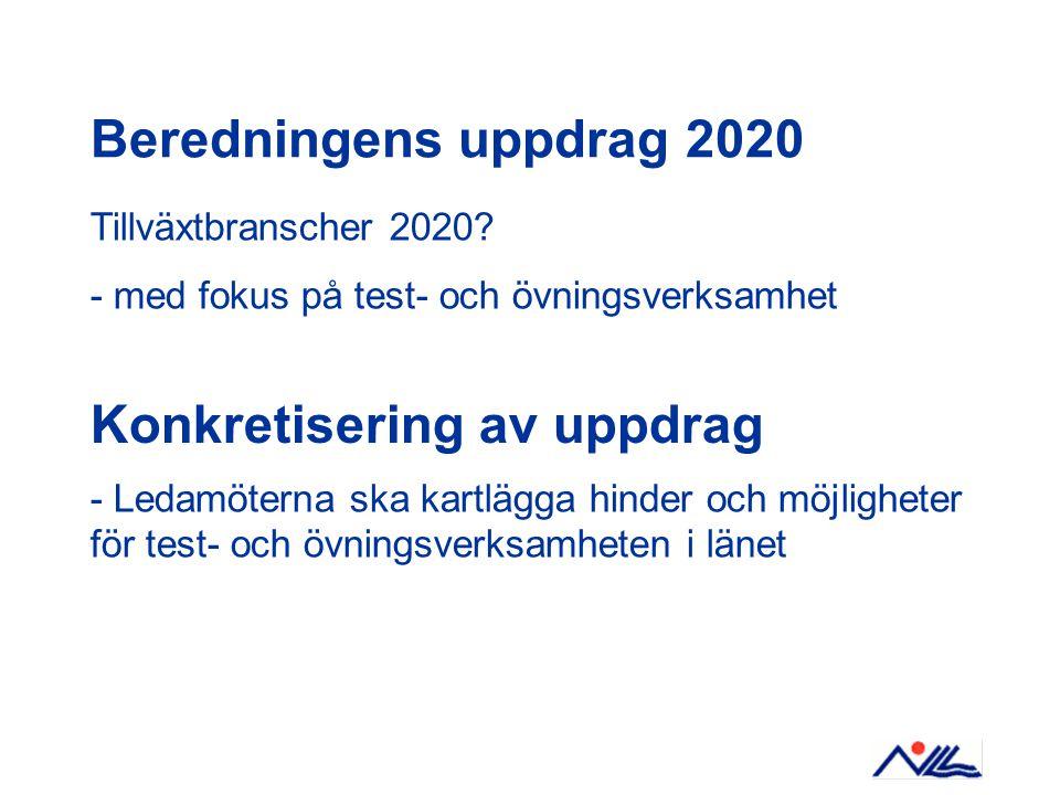 Beredningens uppdrag 2020 Tillväxtbranscher 2020.