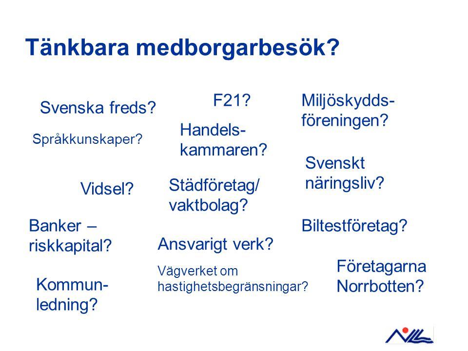 Tänkbara medborgarbesök. Banker – riskkapital. Städföretag/ vaktbolag.