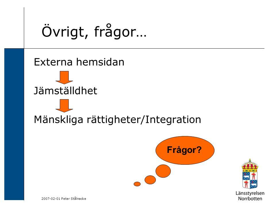2007-02-01 Peter Stålnacke Övrigt, frågor… Externa hemsidan Jämställdhet Mänskliga rättigheter/Integration Frågor