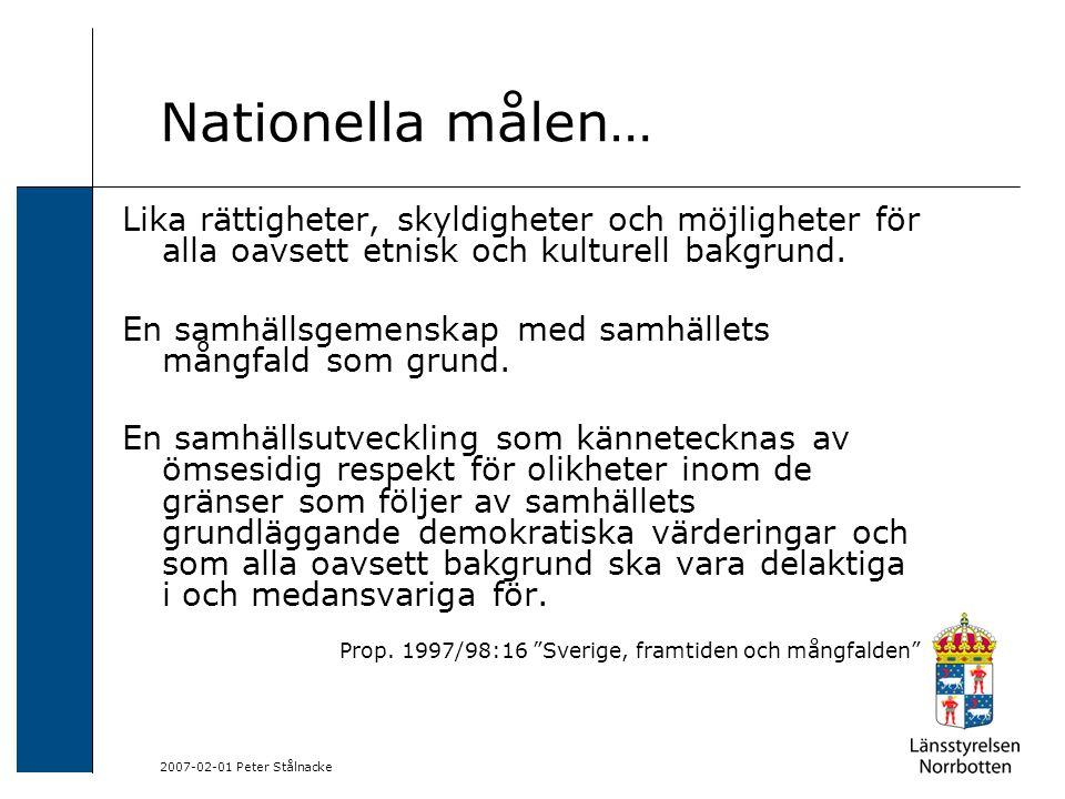 2007-02-01 Peter Stålnacke Nationella målen… Lika rättigheter, skyldigheter och möjligheter för alla oavsett etnisk och kulturell bakgrund.