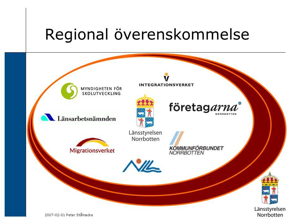 2007-02-01 Peter Stålnacke Överenskommelse om utveckling av introduktionsinsatser och integration i Norrbottens län RÖK:en