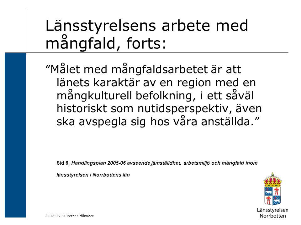 """2007-05-31 Peter Stålnacke Länsstyrelsens arbete med mångfald, forts: """"Målet med mångfaldsarbetet är att länets karaktär av en region med en mångkultu"""