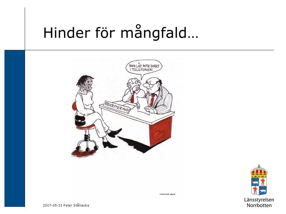 2007-05-31 Peter Stålnacke Hinder för mångfald…