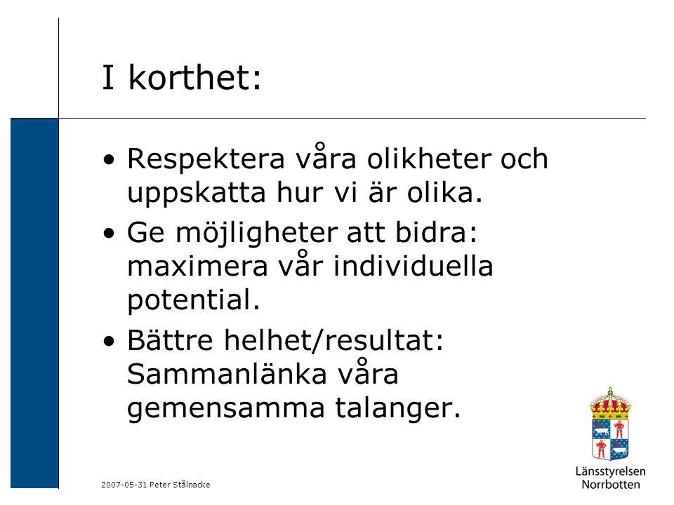 2007-05-31 Peter Stålnacke I korthet: Respektera våra olikheter och uppskatta hur vi är olika. Ge möjligheter att bidra: maximera vår individuella pot
