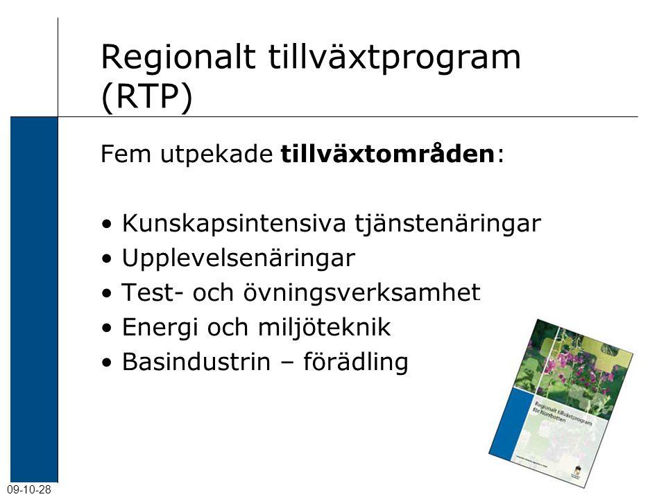 09-10-28 Regionalt tillväxtprogram (RTP) Fem utpekade tillväxtområden: Kunskapsintensiva tjänstenäringar Upplevelsenäringar Test- och övningsverksamhet Energi och miljöteknik Basindustrin – förädling