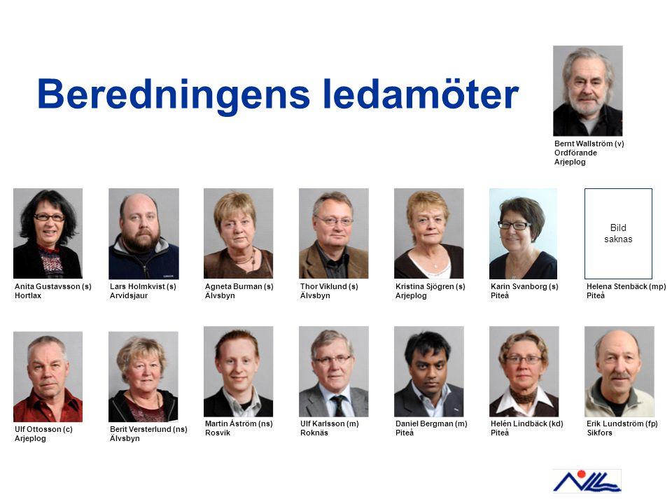 Beredningens ledamöter Anita Gustavsson (s) Hortlax Lars Holmkvist (s) Arvidsjaur Bernt Wallström (v) Ordförande Arjeplog Agneta Burman (s) Älvsbyn Th