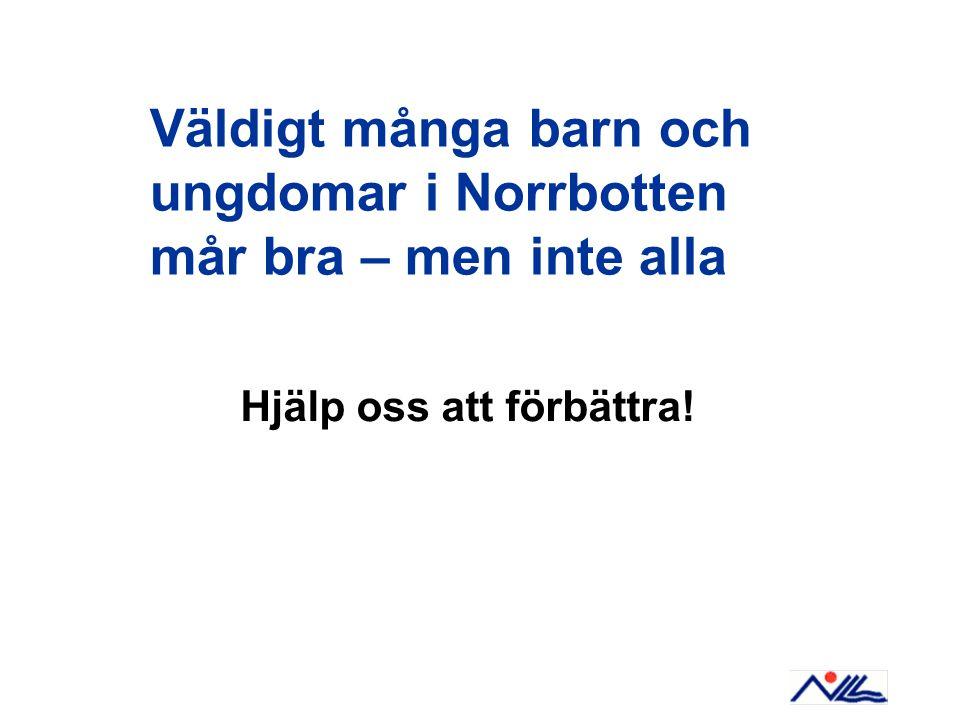 Väldigt många barn och ungdomar i Norrbotten mår bra – men inte alla Hjälp oss att förbättra!