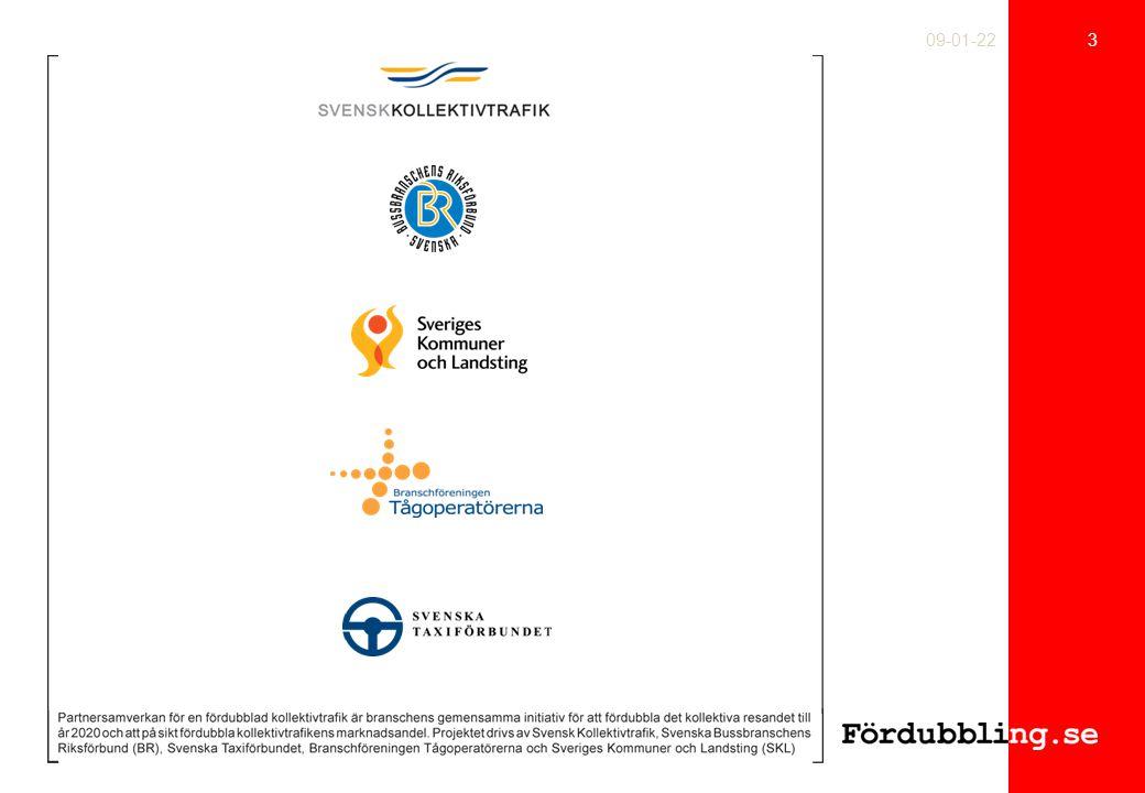 14 09-01-22 Den branschgemensamma affärsmodellen En gemensam vision Gemensamma värderingar Vårt uppdrag Fördubblad marknadsandel Kundmål Effektivitets- mål Mål för utveckling & förnyelse Ekonomimål Ökad betalningsvilja från resenärer och samhälle Nya finansieringsmöjligheter